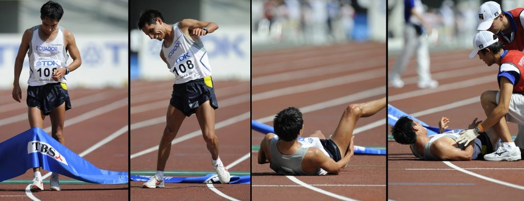 Combo picture shows Ecuador's Jefferson Perez collapsing after crossing the finish line during the men's 20km walk at the 11th IAAF World Athletics Championships in Osaka, 26 August 2007. Ecuador's Jefferson Perez won ahead of Tunisia's Hatem Ghoula and Mexico's Eder Sanchez. AFP PHOTO / ERIC FEFERBERG